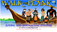 Addition and subtraction of integers walk the plank game for children, adding and subtracting integers game for kids, add and subtract integers game for children of all grades