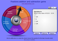 Adding and substracting fractions game, addition and subtraction of fractions with unlike denominators game for children, add and subtract fractions with like and unlike denominators game