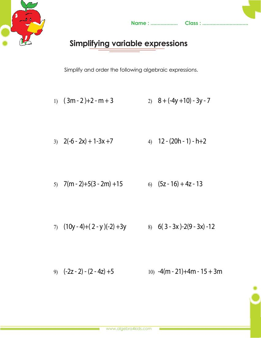 Algebra 1 Worksheets | Monomials and Polynomials Worksheets