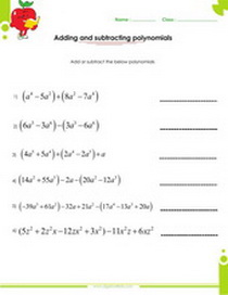Polynomials addition and subtraction worksheet pdf printable