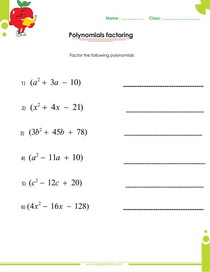 factoring polynomials worksheet with answers