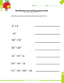 identifying and naming polynomials worksheet, monomials, binomials, trionomials, quartic, quintic, polynomials