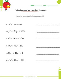 Perfect square polynomials factoring worksheet with answers