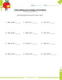 Calculating percentage of numbers worksheet, ratio, rates, proportion, percent, fraction