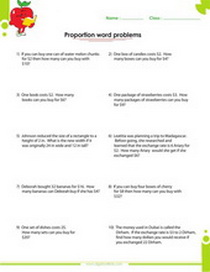 Ratio and proportion word problems worksheet