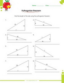 Pythagorean theorem application to right triangles worksheets