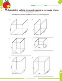 rectabgle prism volume and surface area worksheet, solid figures worksheet
