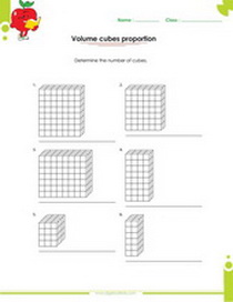 solid figures worksheet, number of cubes that constitute a figure