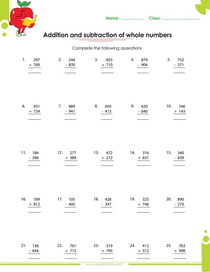 adding whole numbers, subtracting whole numbers worksheet