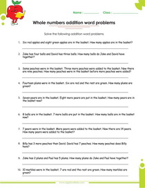 whole numbers worksheet on addition word problems