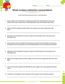 whole number worksheet, word problem on whole numbers subtraction